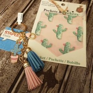 Accessories - Cactus keychain and iron on pocket